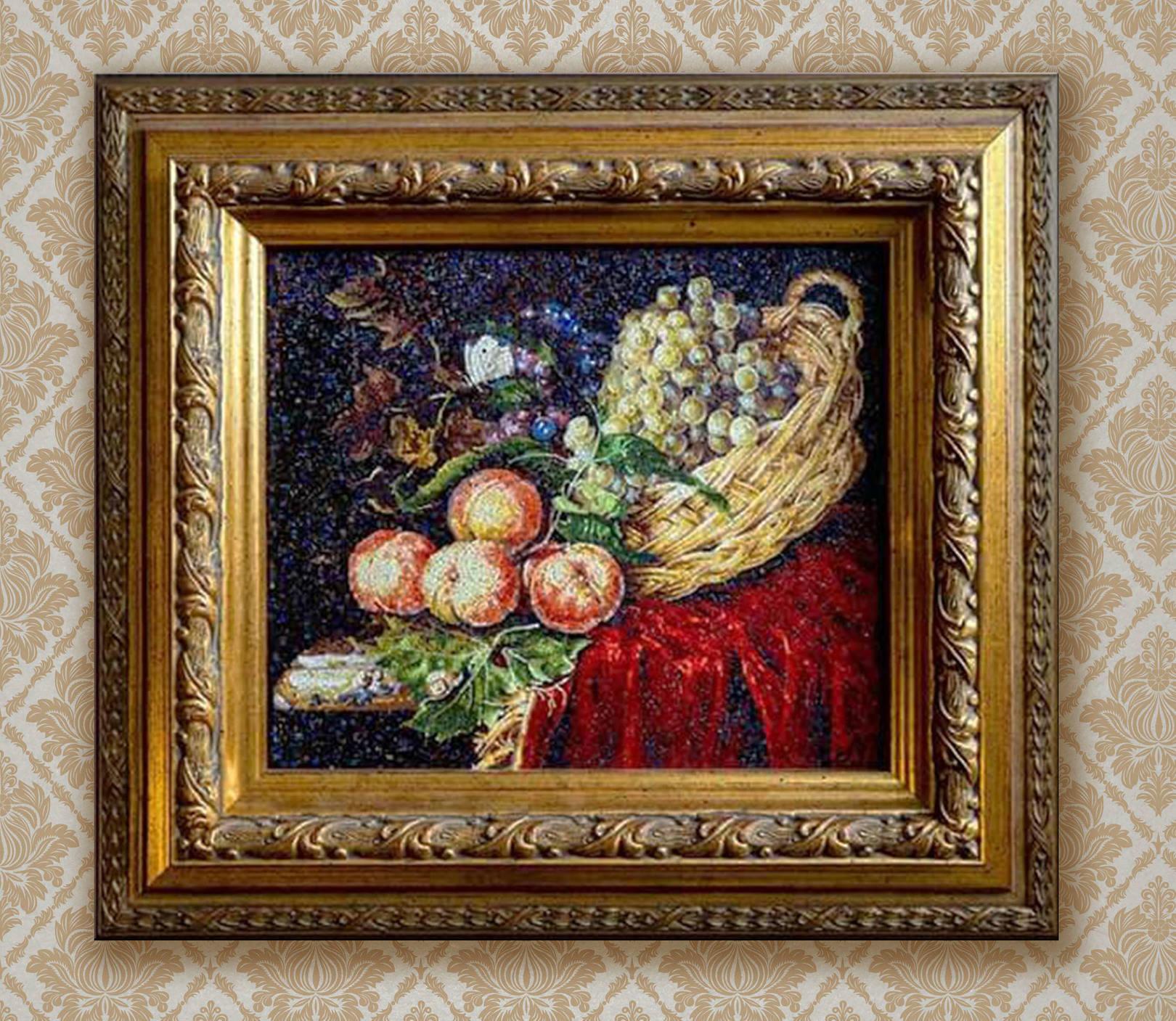 Копия картины  Виллем  ван  Алст   «фрукты» 1660 г . ( 17 Х 20 см ) . Работа выполнена в технике микромозаика . Для работы использовалась итальянская смальта ORSONI . Способностью смальты колоться на маленький модуль  ( 1,2,3 мм)и наличие богатой цветовой палитры  позволяет создавать картины в технике микромозаика  небольших размеров . Так же это дает возможность копировать известных художников  в оригинальной технике и создавать эксклюзивы для любителей мирового искусства.@irina_nesterova_in