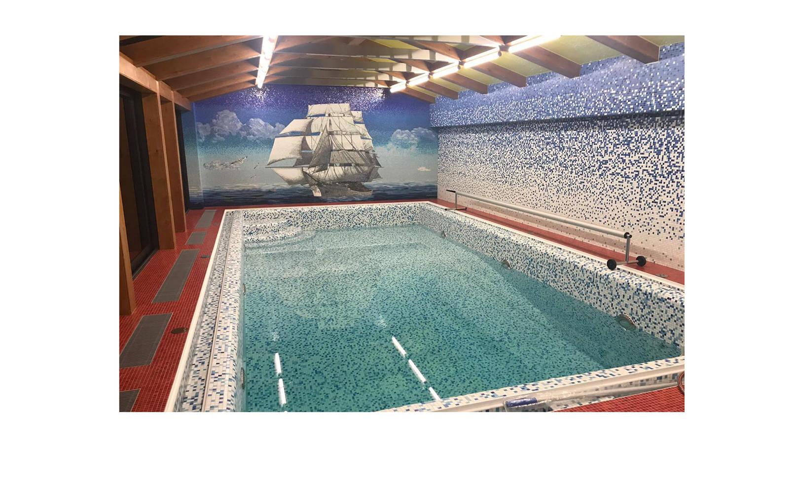 """Мозаичное панно """"Парусник"""" для бассейна, выполнено из стеклянной мозаики.@irina_nesterova_in"""