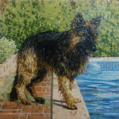 Парадный портрет  любимой собаки. Материал – стеклянная мозаика.