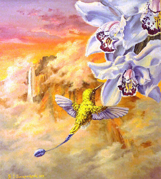 Порхает колибри у водопада Анхель / The hummingbird's flight near the Angel fall 45 x 45 cм, холст, масло, 2013 г