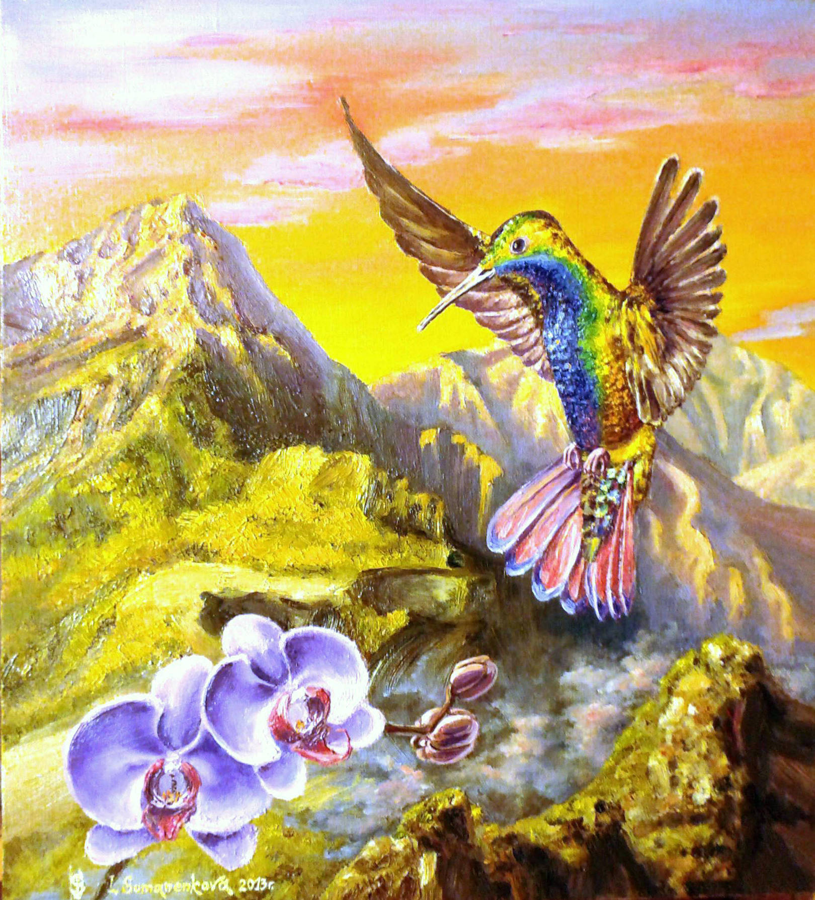 В золте Перу блистает изумруд живой! / In a gold of Peru shines the emerald alive! 45 x 45 cм, холст, масло, 2013 г