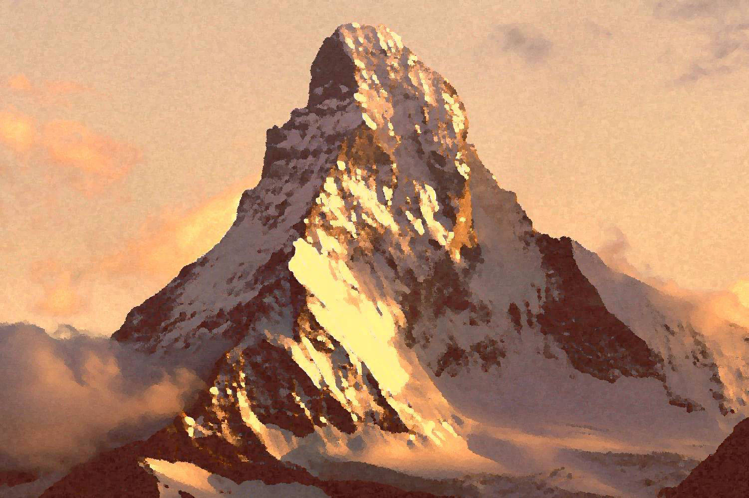 Гора Маттернхорн на закате / Mount Matterhorn at sunset