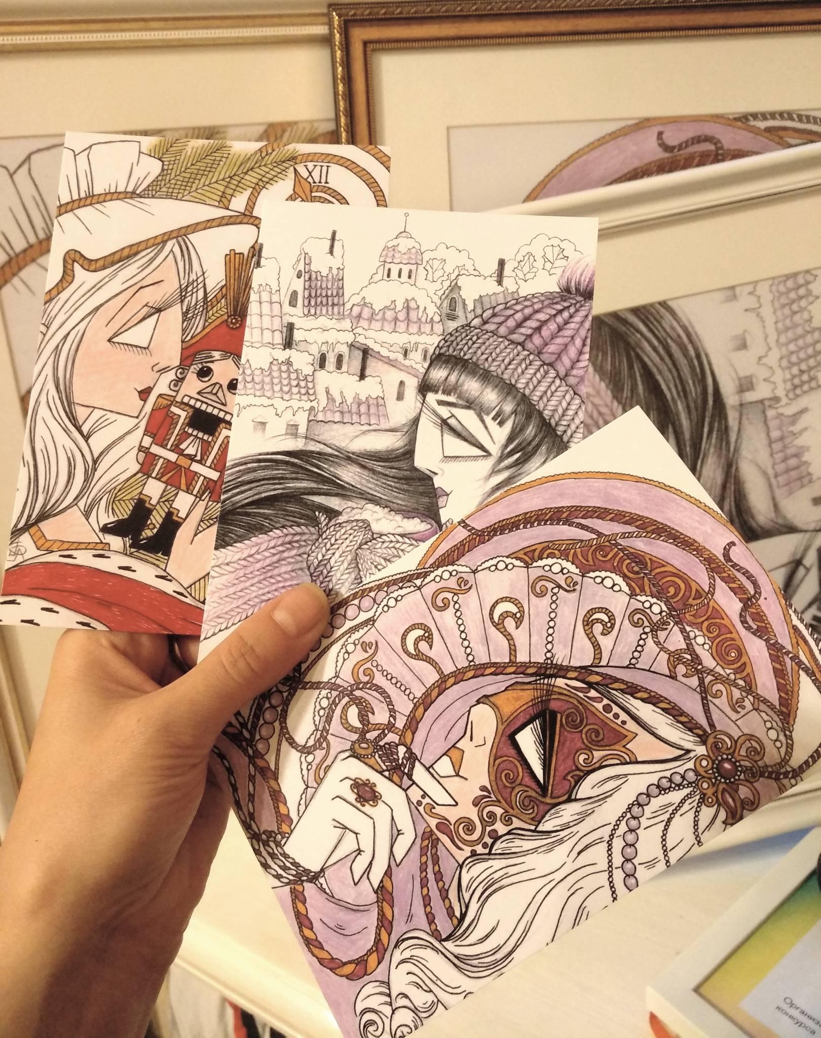 """Открытки с иллюстрациями из цикла """"Острые леди"""" для магазина """"Жантиль""""."""