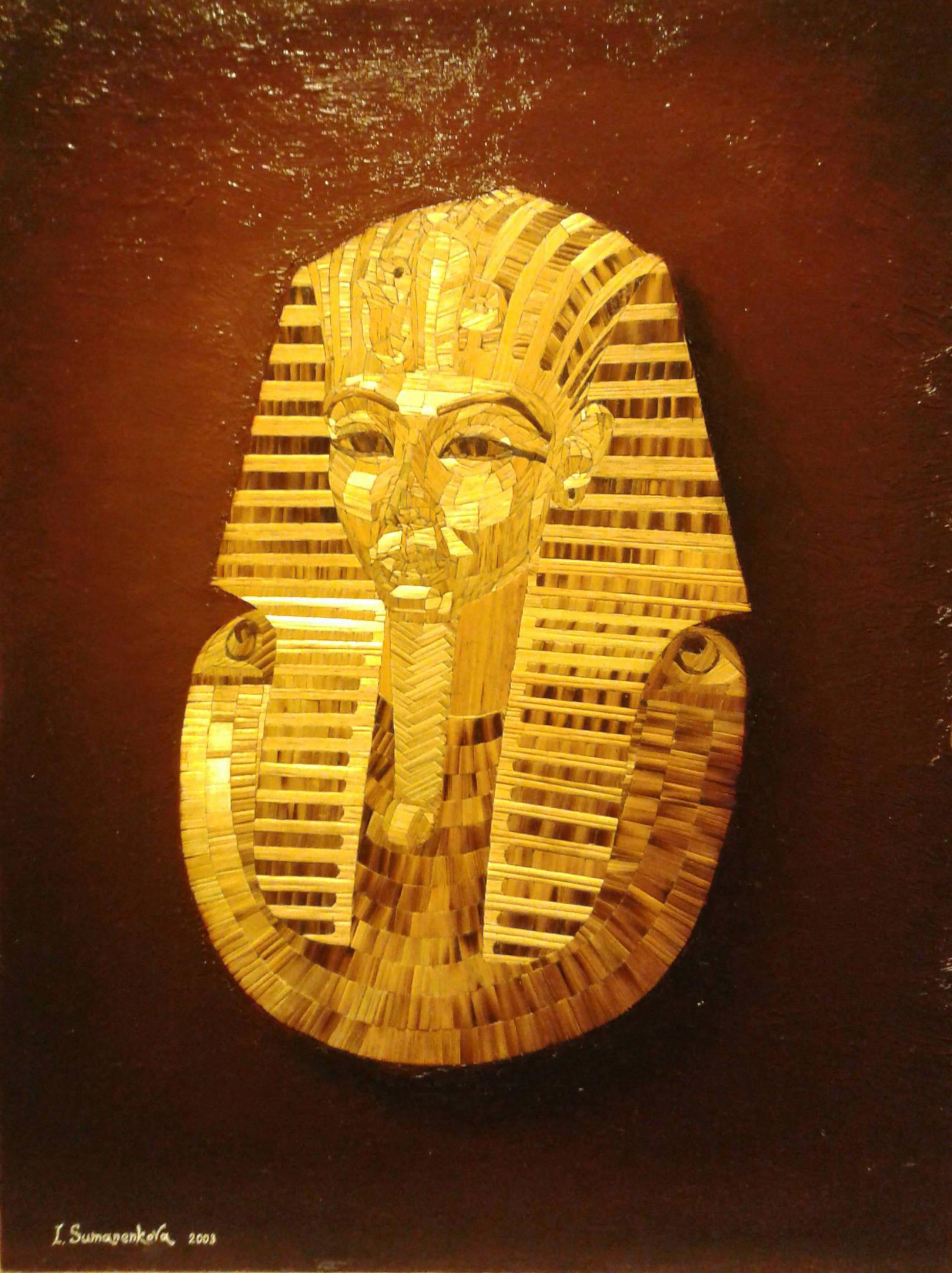 Портрет Тутанхамона / Portrait of Tutanchamon 30 Х 42 см, инкрустация из сухих стеблей соломы, фон - доска, масло, 2003 г