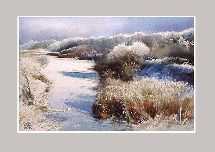 ,,Трескучий мороз на речке Олекте,, Акв.бум.DMD watercolor paper,36x53 см.2019 г.