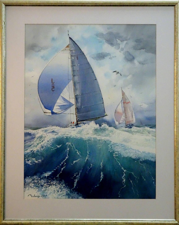 ,,Регата,,Международная выставка морского пейзажа,,Marina 2016,, Юрмала,Латвия.Акв.большого формата.90x72 см.
