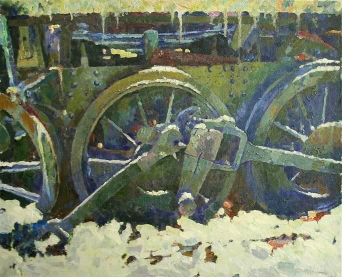 «Зимние колеса» холст, масло, 70х90см, 2020