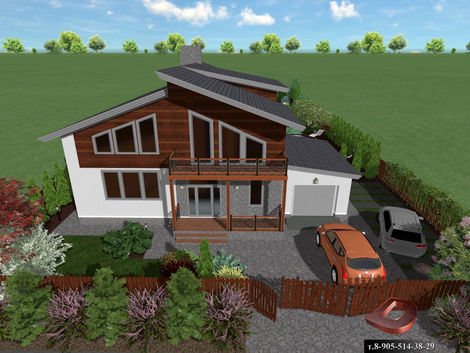 Ландшафтный дизайн дачного участка 14 соток, Входная зона