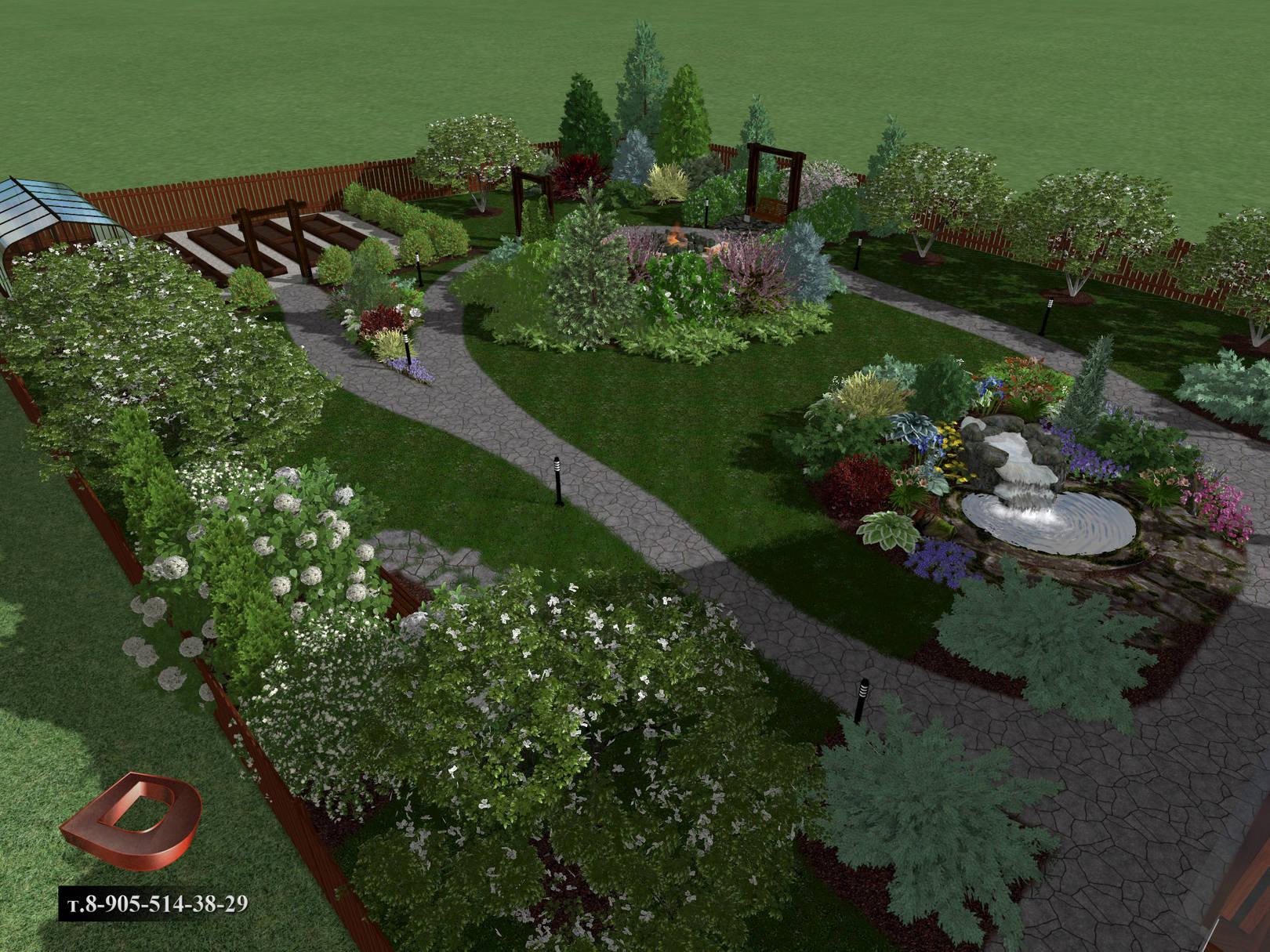 Ландшафтный дизайн дачного участка 14 соток,  вид на огород