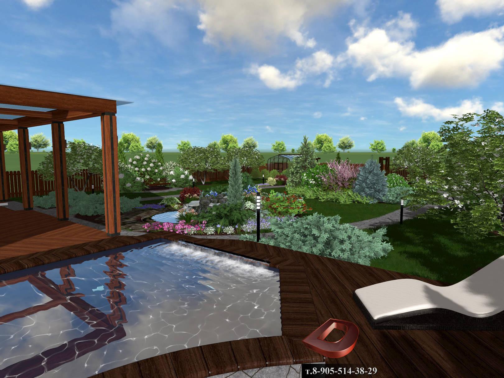 Ландшафтный дизайн дачного участка 14 соток, Вид на бассейн