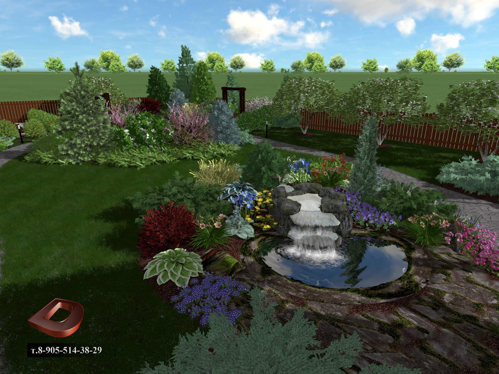 Ландшафтный дизайн дачного участка 14 соток, декоративный водоём с водопадом