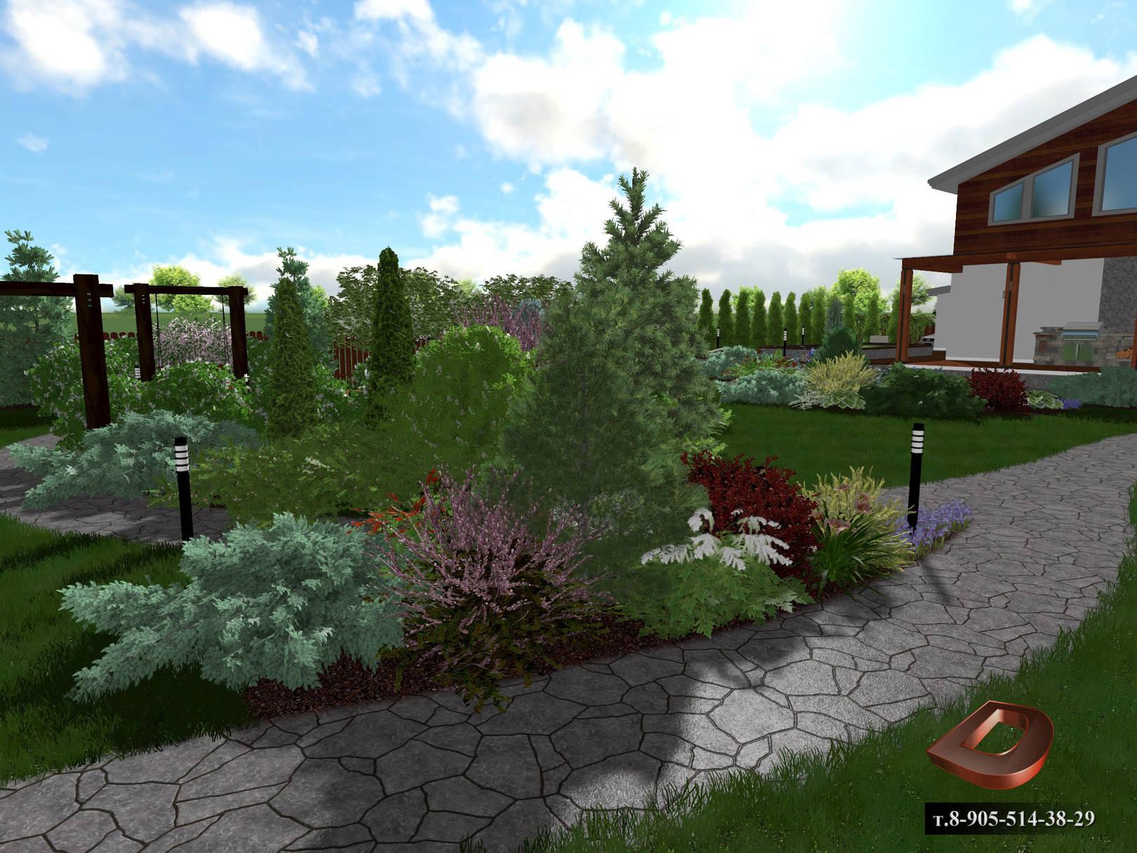 Ландшафтный дизайн дачного участка 14 соток,  миксбордеры