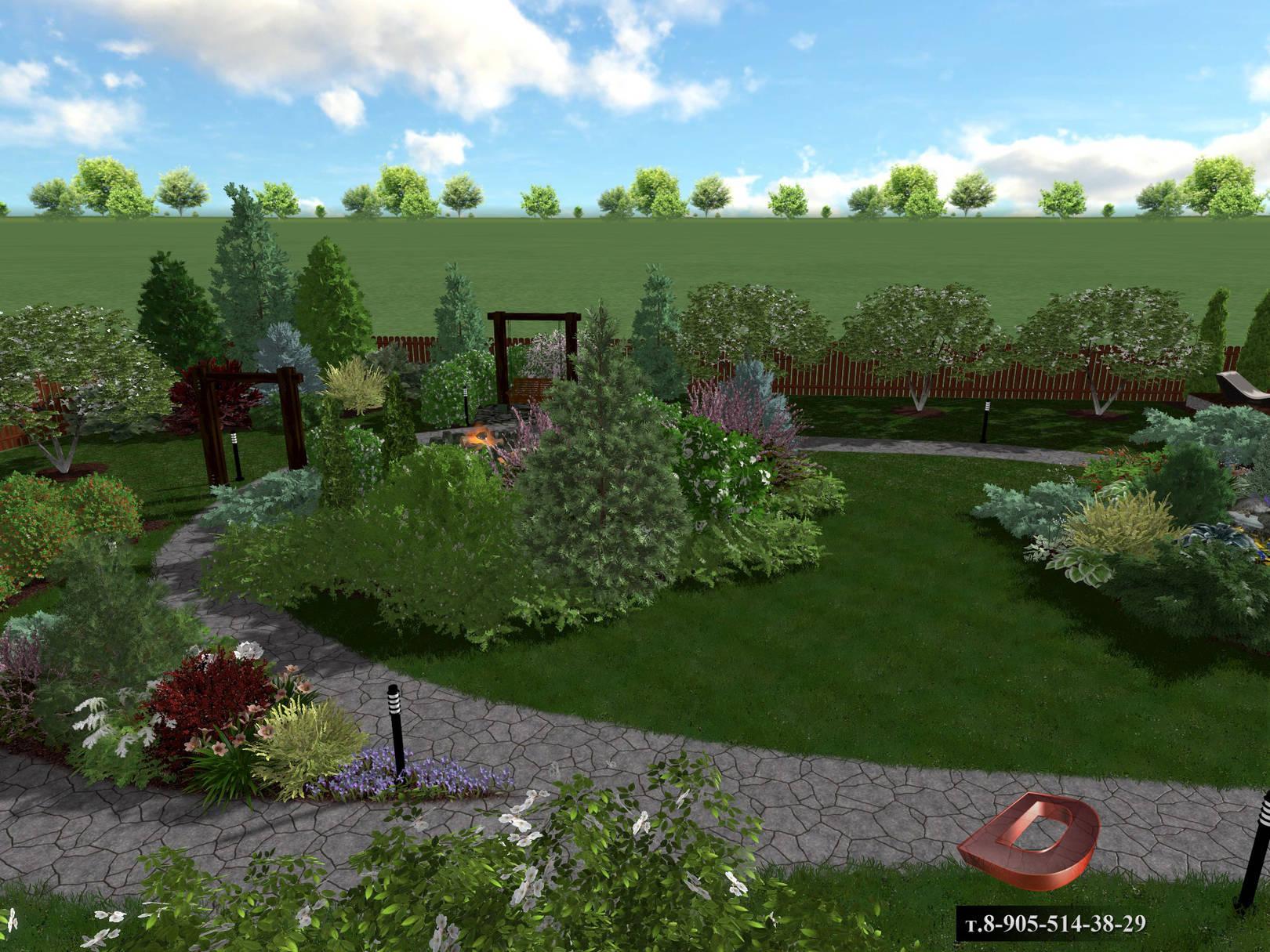 Ландшафтный дизайн дачного участка 14 соток, вид на кострище