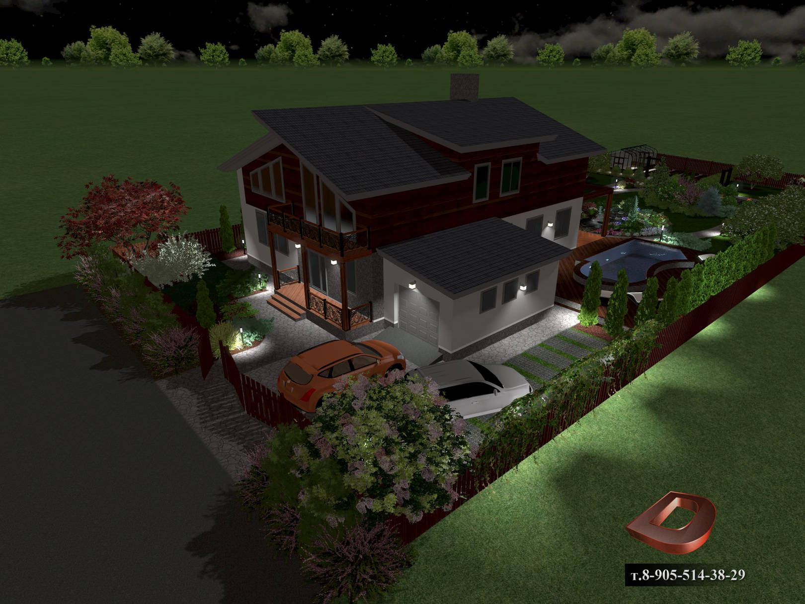 Ландшафтный дизайн дачного участка 14 соток, входная зона в ночное время . Освещение участка