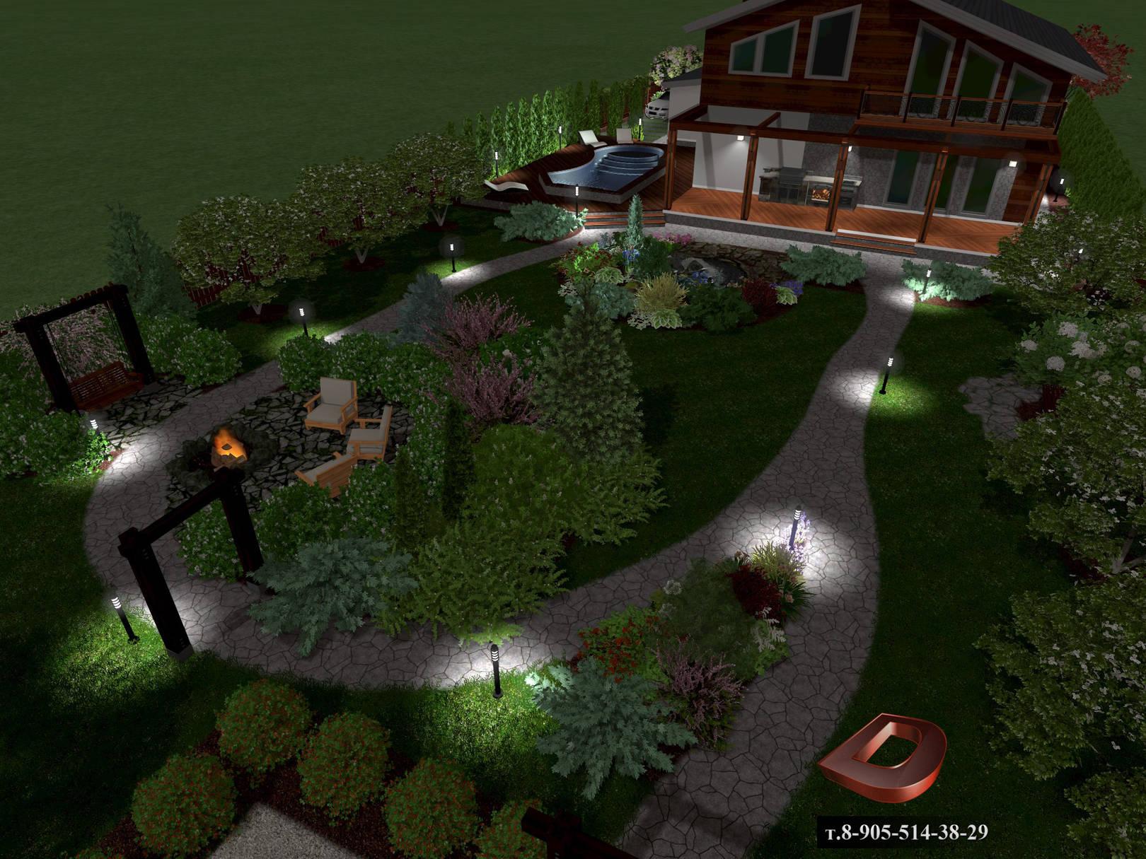 Ландшафтный дизайн дачного участка 14 соток . Освещение участка в ночное время