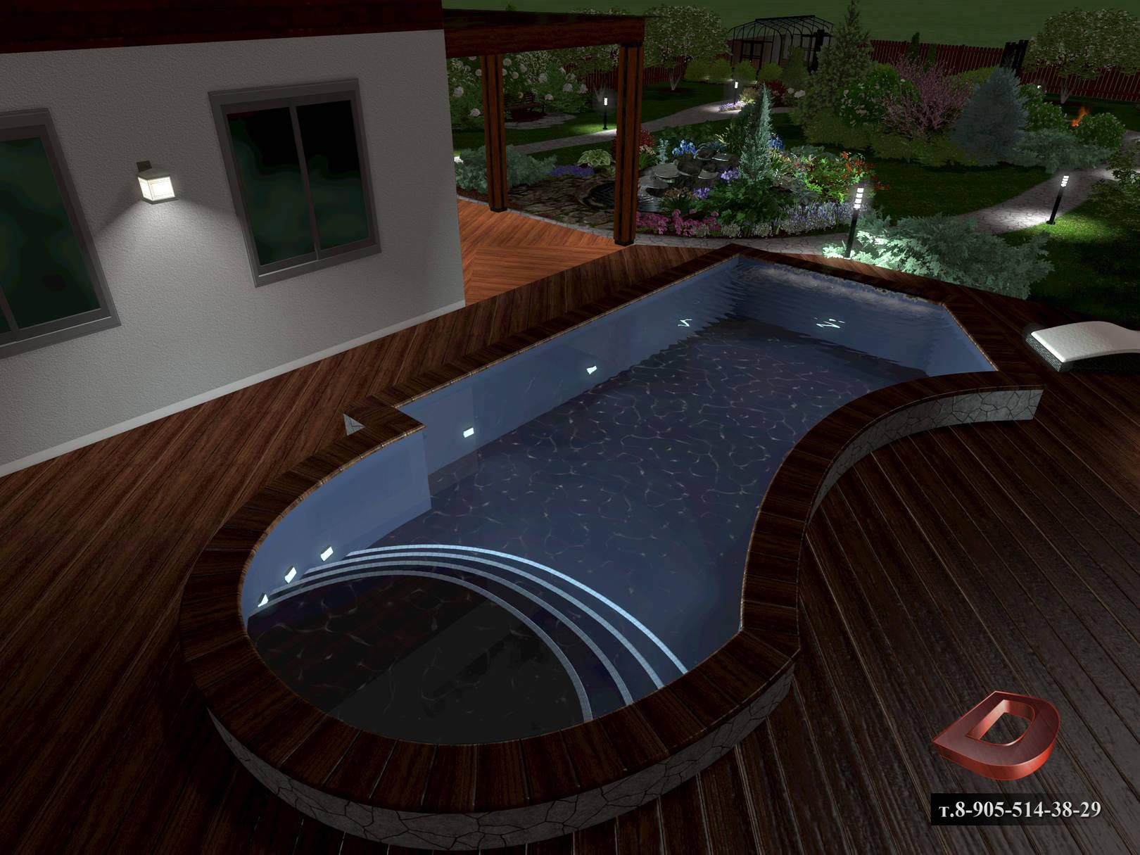 Ландшафтный дизайн дачного участка 14 соток, вид на бассейн в ночное время . Освещение участка