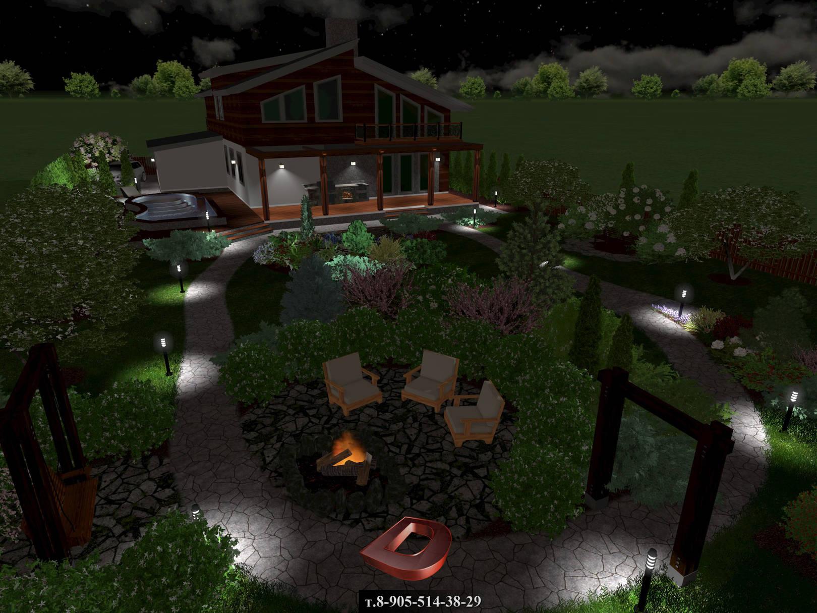 Ландшафтный дизайн дачного участка 14 соток, вид на кострище в ночное время
