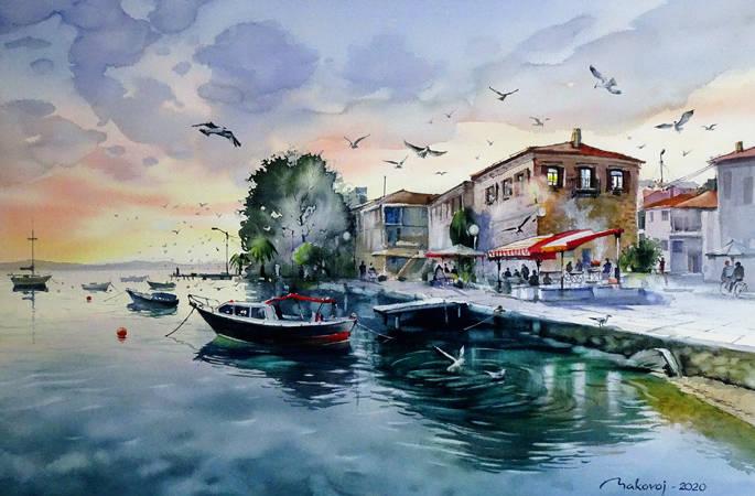 ,,Вечерний бриз в Измире,, акв.исполненная для Фестиваля акварели в Турции.