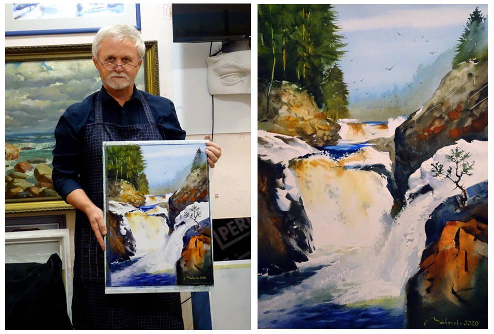 На занятии в студии провел урок творчества по исполнению акварельного этюда по теме,,Водопад Кивач,,на котором побывал с творческими целями по приглашению Министерства культуры Республики Карелия.