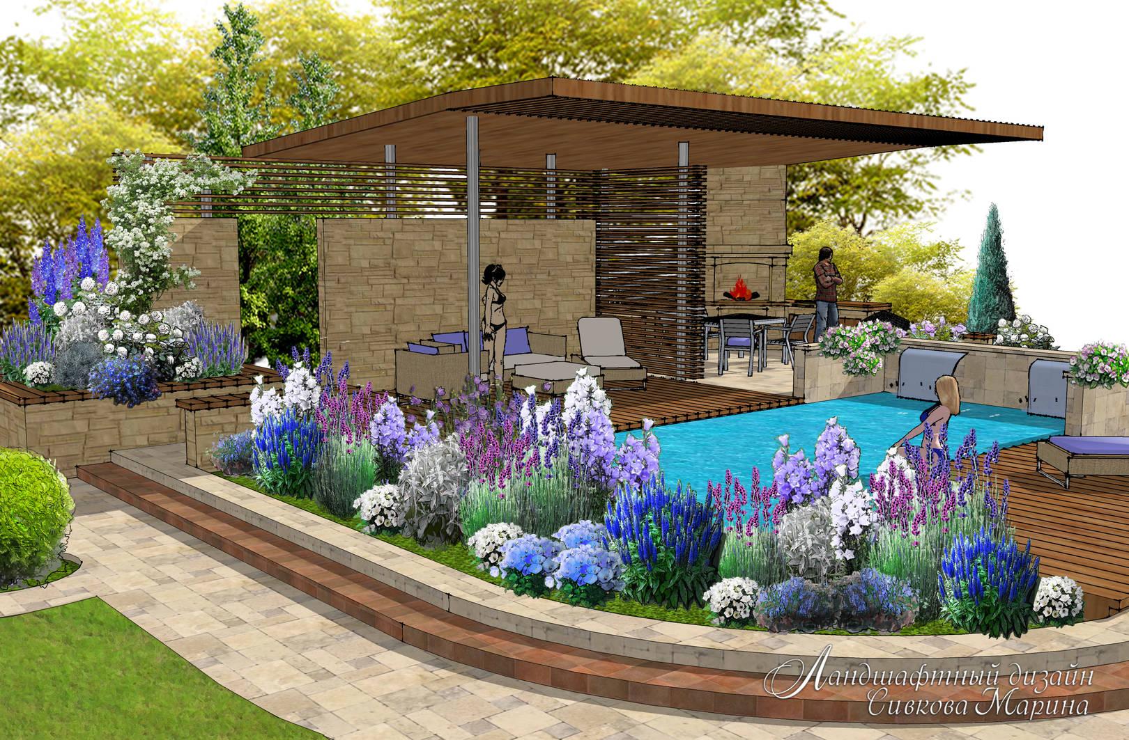 Проект зоны отдыха с бассейном