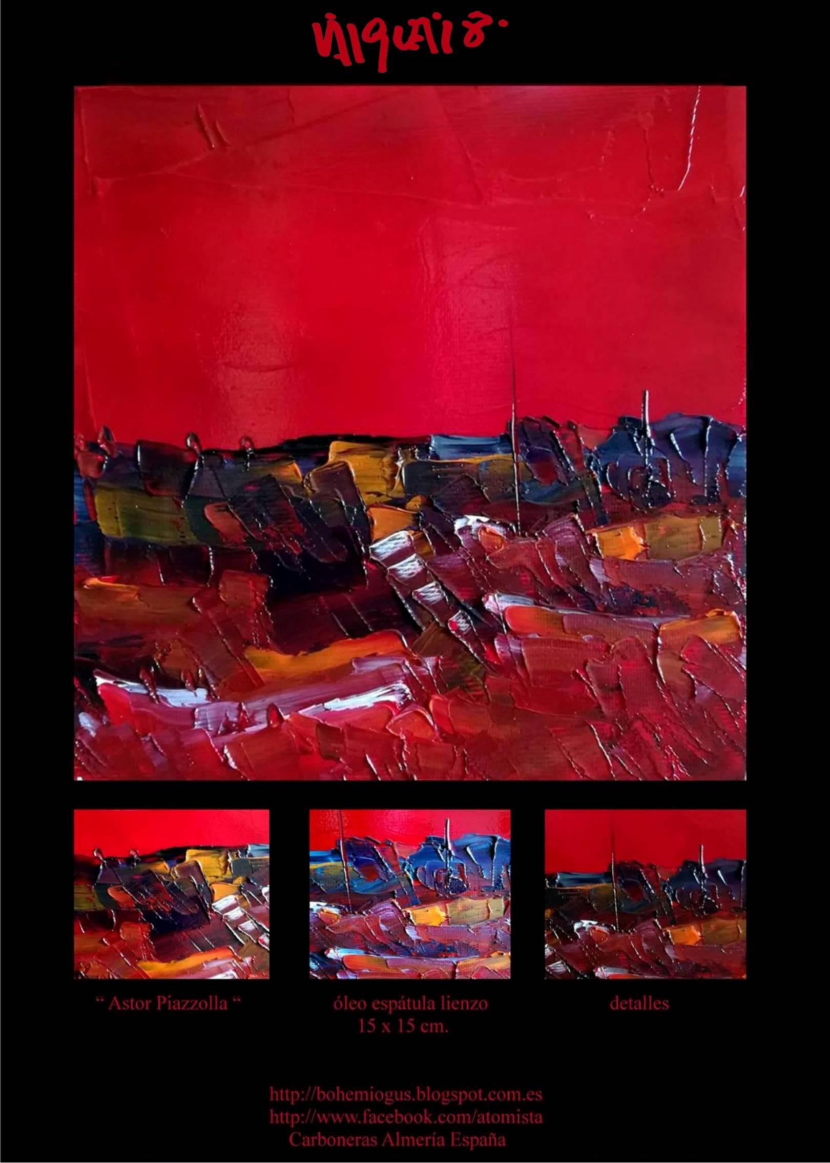 Astor Piazzolla. 2018 óleo espátula lienzo 15 x 15 cm. http://bohemiogus.blogspot.com