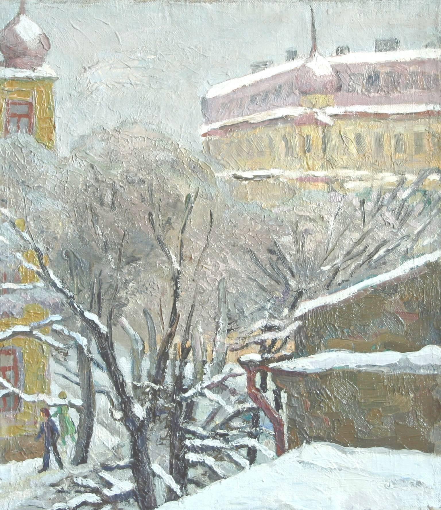 ,,Первый снег в Одессе,, холст, масло,40х35,5.