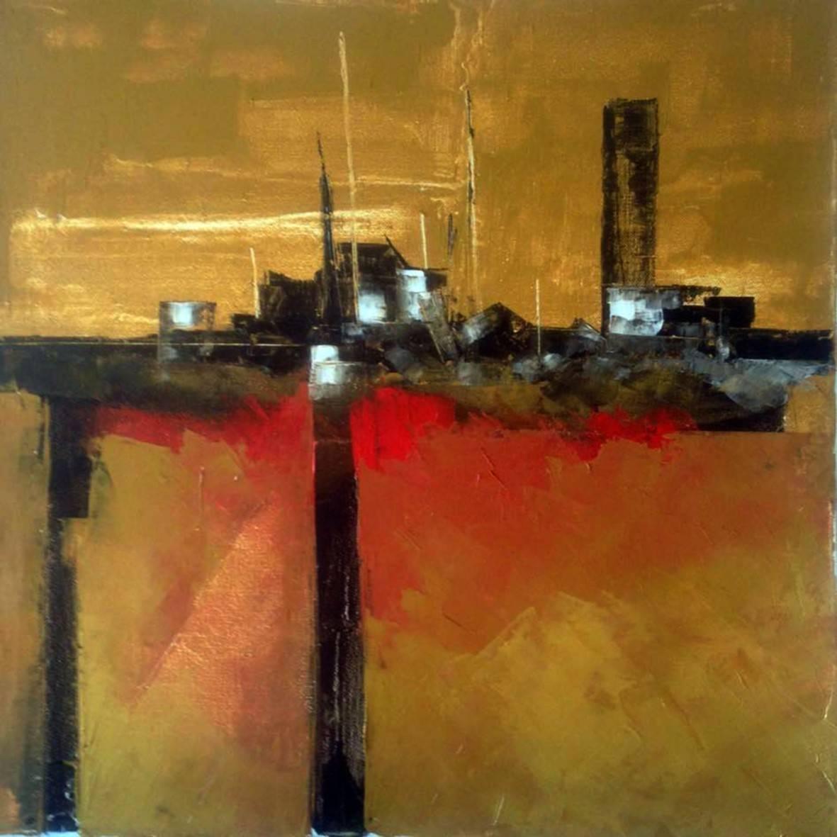 """ Sunset at the pier "" 2015. oil spatula canvas.  40 x 40 cm.  http://bohemiogus.blogspot.com/ http://www.facebook.com/atomista"