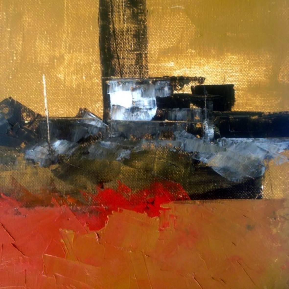 """ Sunset at the pier "" 2015. oil spatula canvas. Detail. 40 x 40 cm.  http://bohemiogus.blogspot.com/ http://www.facebook.com/atomista"