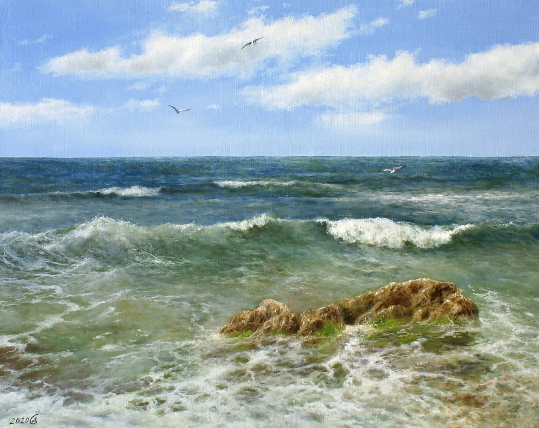 Только море и небо вокруг - холст/масло, 40х50, 2020