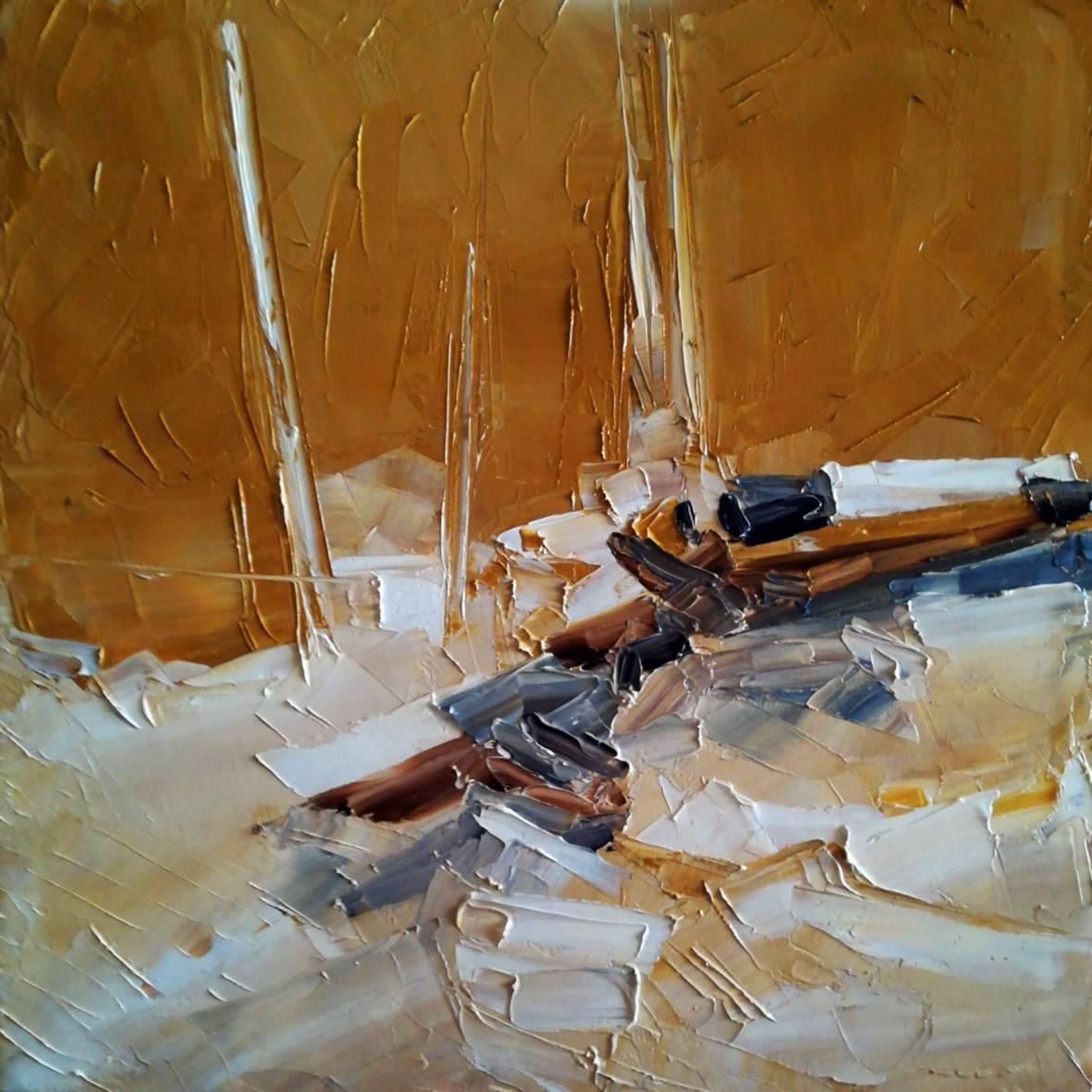 """ Velero "". Cabo de Gata. óleo espátula lienzo.  31.5 x 31.5 cm. http://bohemiogus.blogspot.com http://www.facebook.com/atomista"
