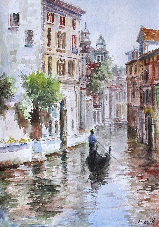 Акварельная Венеция - бумага/акварель, 30х21, 2020