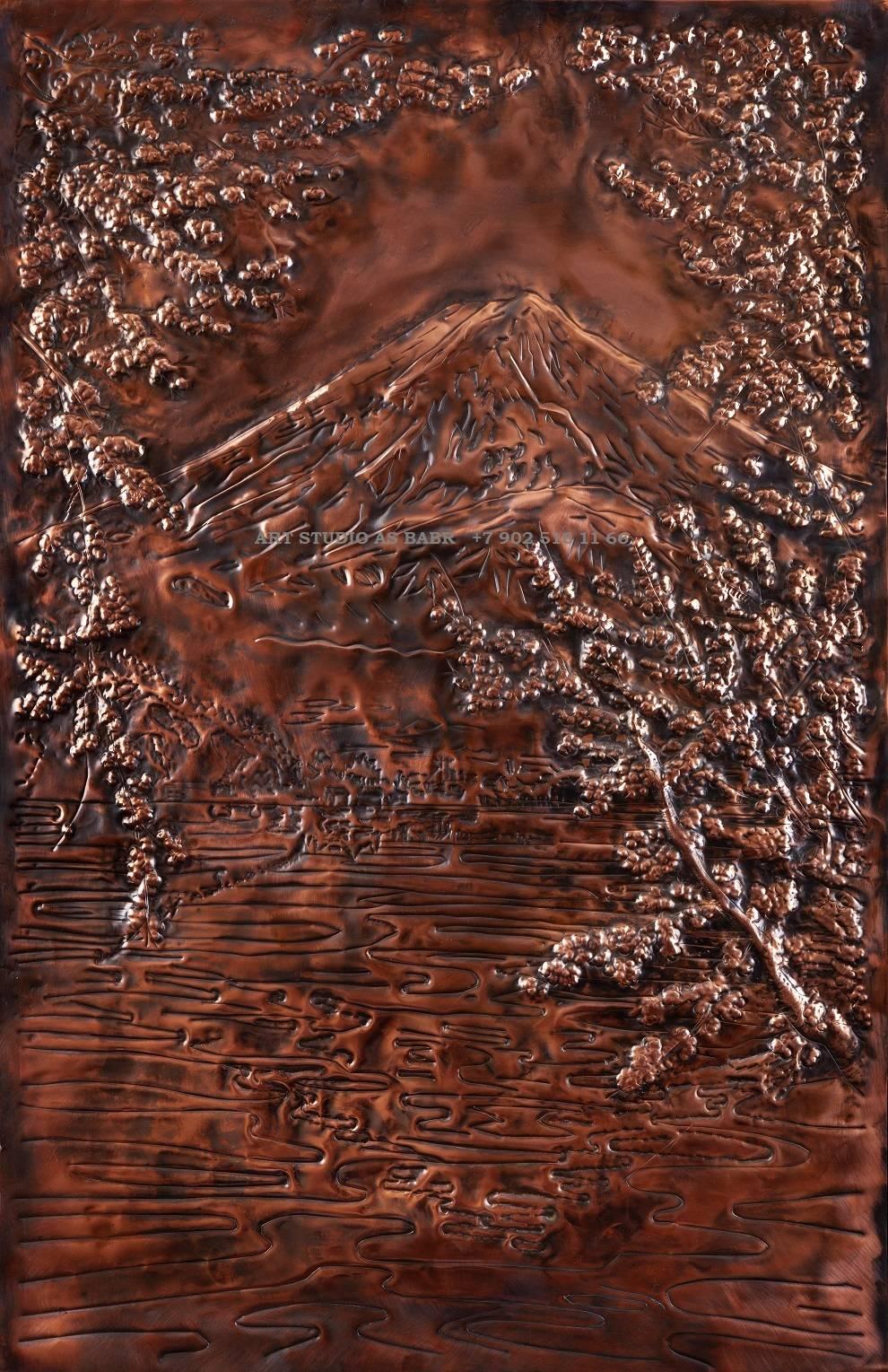 """""""Фудзияма""""Вид с озера Кавагути. Медь.Металлопластика,чеканка.патина. 570 х 900               Иркутск  2020 г.+7 902 516 11 66"""