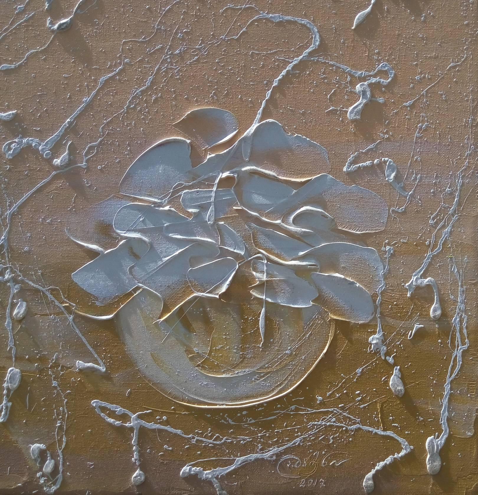 «Цветы в горшочке»  холст, масло «Flowers in a flowerpot» oil on canvas  40x40, 2017