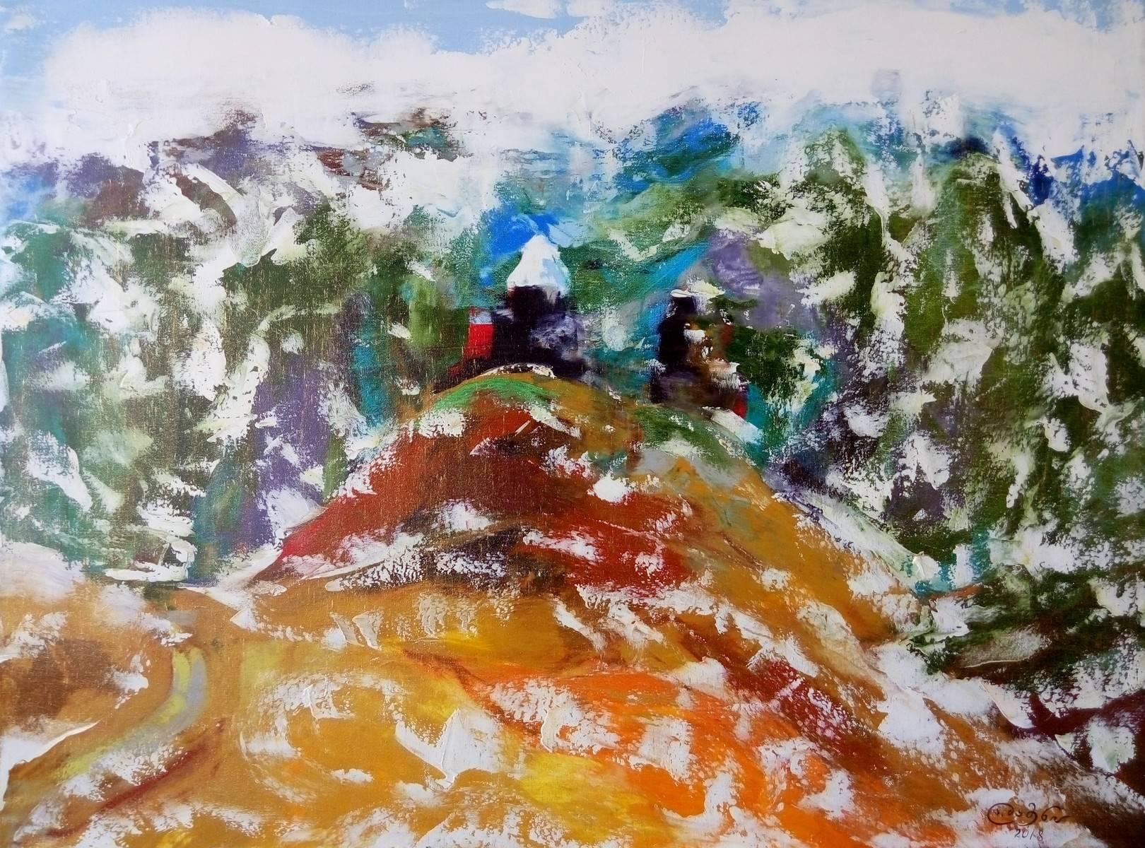«Гергети зимой» холст, масло «Gergeti in winter» oil on canvas  80x100,  2018