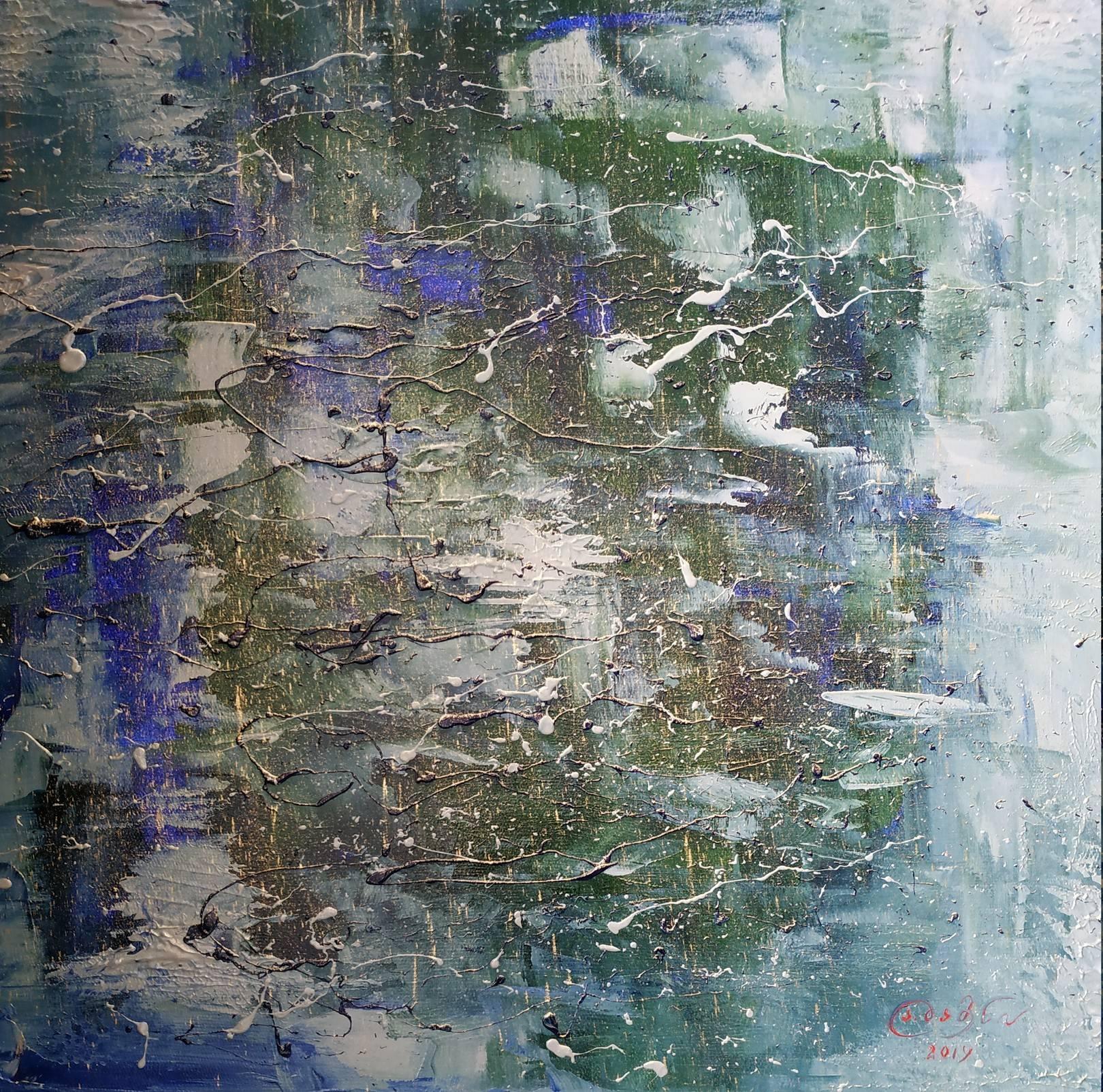 «Облака, отражённые в вечернем озере» холст, масло «The clouds reflected in the evening lake»  oil on canvas  50x50,  2019