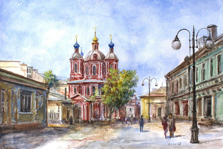 Москва, Климентовский переулок - бумага/акварель, 21х31, 2020