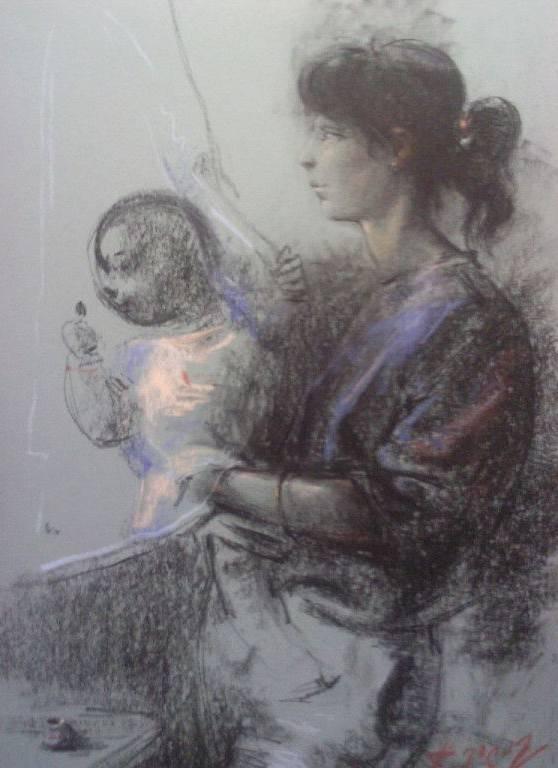 «Мать и дитя»           бумага, пастель «Mother and child»  paper, pastel          70x50, 2012