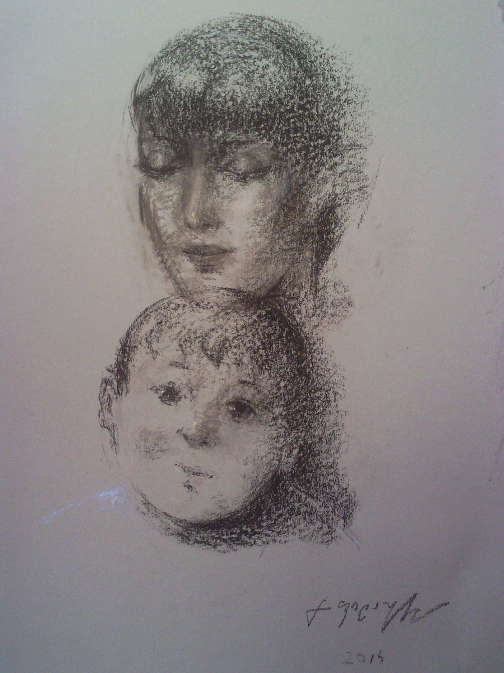 «Мать и дитя»             бумага, пастель «Mother and child»    paper, pastel        63x42, 2014