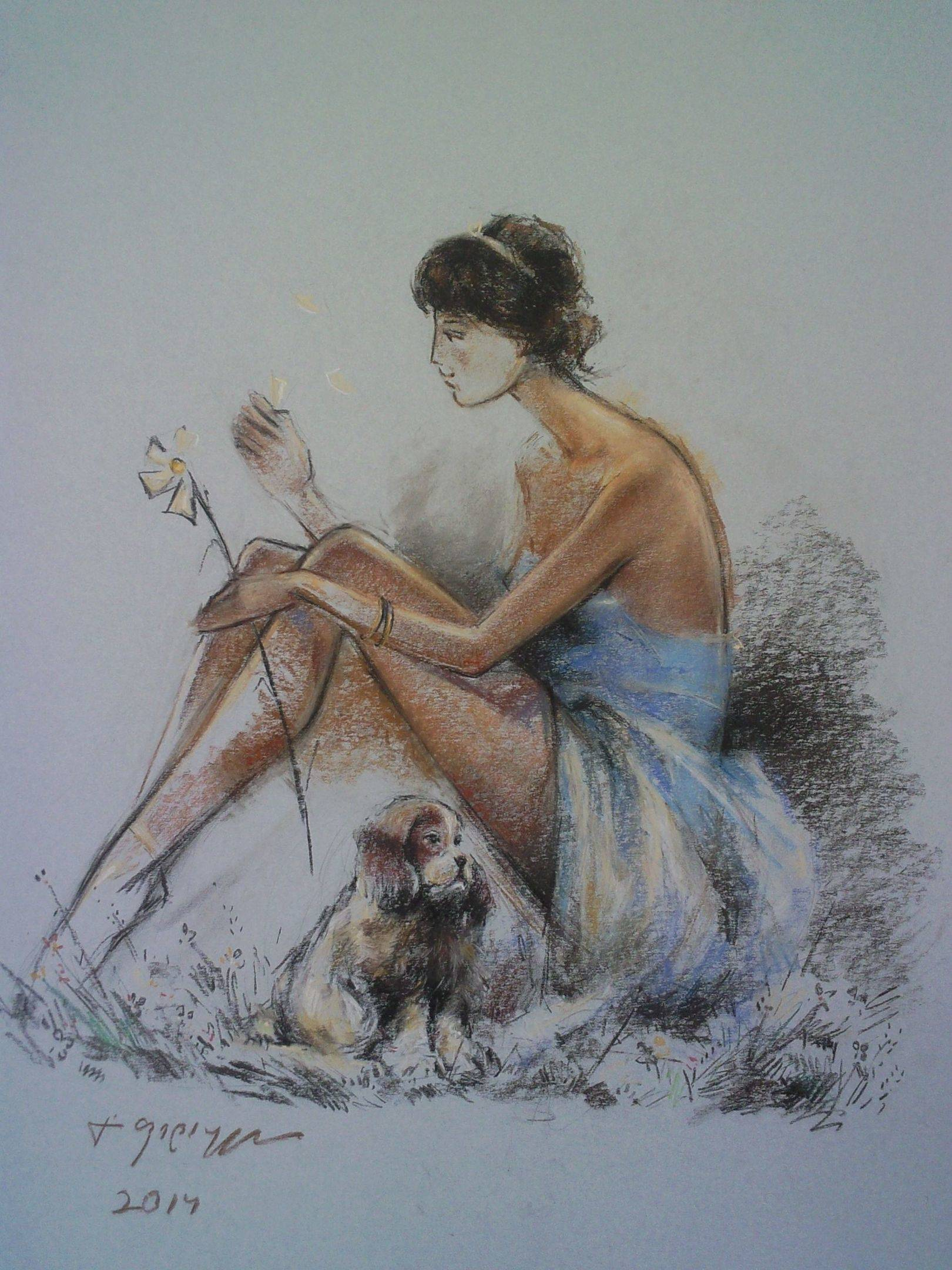 «Девушка с цветком»       бумага, пастель «Girl with flower»              paper, pastel        55x44, 2014