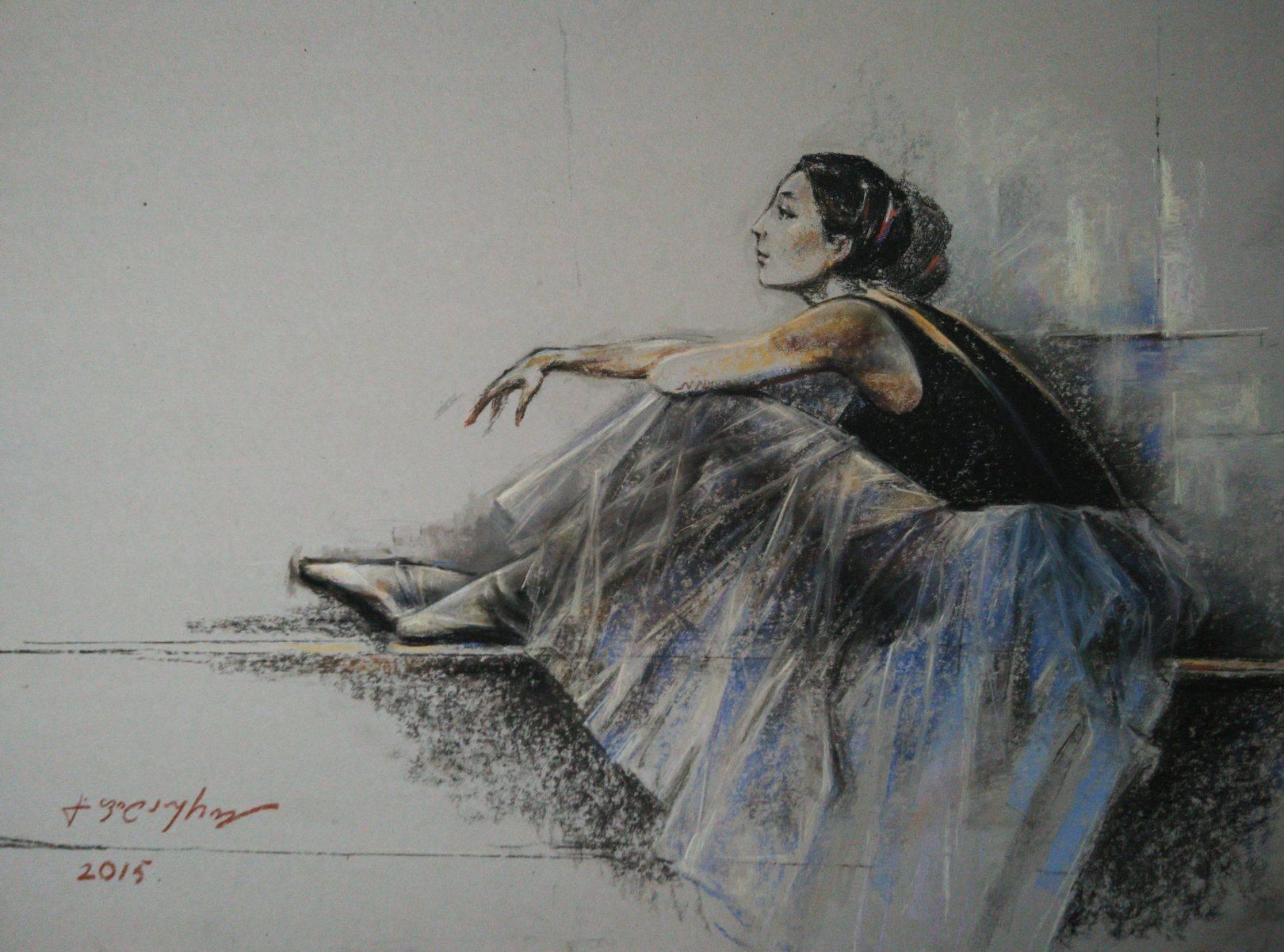 «Балерина»        бумага, пастель «Ballerina»          paper, pastel  50x70, 2015