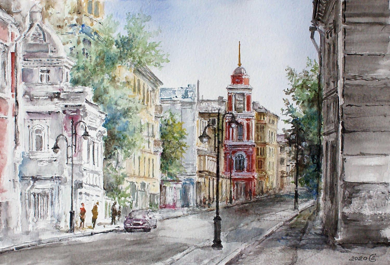 Москва, Пятницкая улица - бумага/акварель, 21х31, 2020