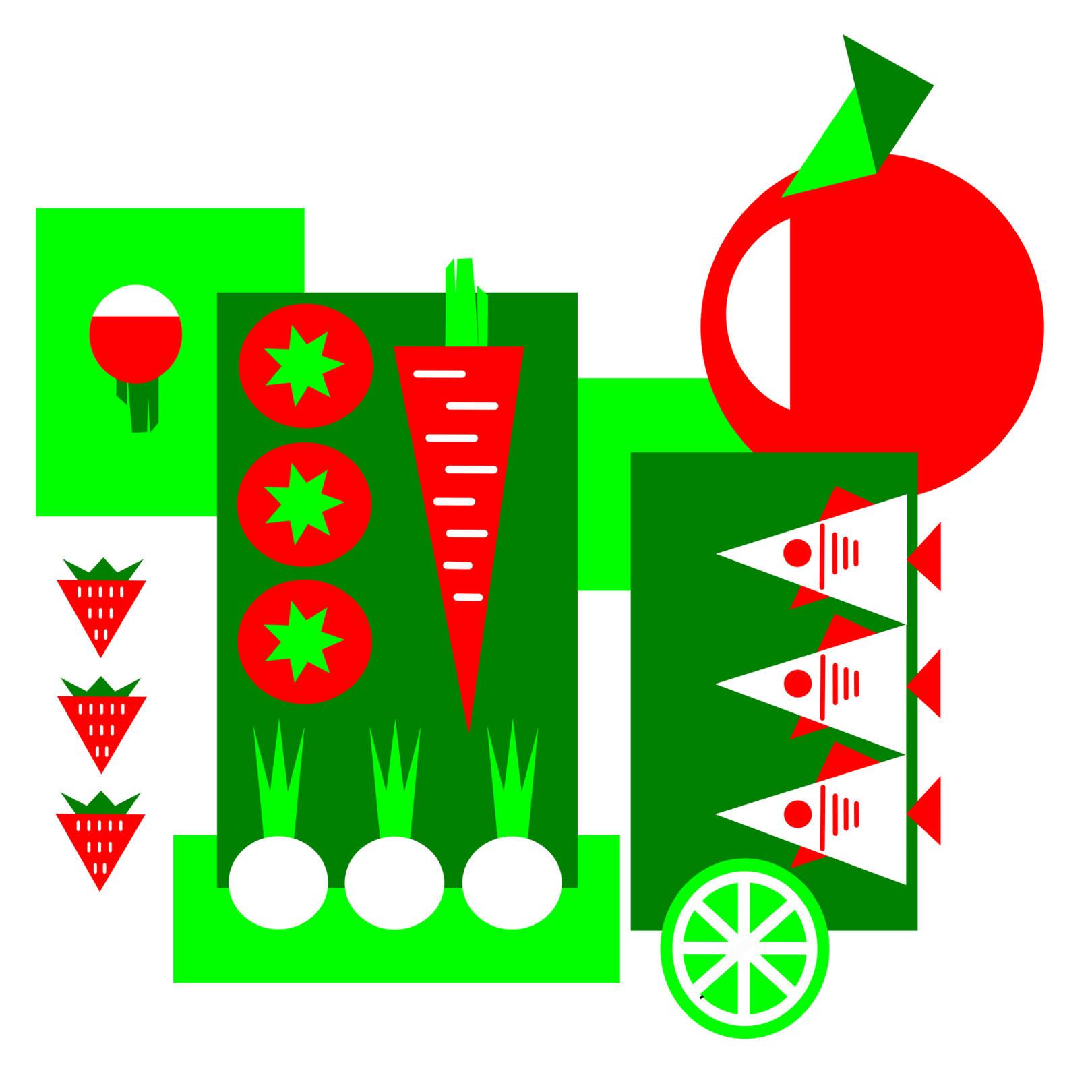 """""""ЭКО - город"""".  Абстрактная композиция из продуктов, которые символизируют эко-город и людей в нем. А вообще... Мне в детстве очень нравился запах овощного магазина. Что-то в нем было манящее и разжигающее аппетит. Родители каждое воскресенье ходили на рынок и покупали свежие овощи и фрукты. Запах из сумки был великолепен! Даже кошка грызла свежие огурцы))). Свежесть капусты, нотки граната, немного грейпфрута и благоухание болгарского перца, пикантный чеснок и травы, бодрящий аромат свежего огурца и томящий шлейф помидоров. Ммм... Великолепно... Истинная гармония вкуса и цвета!"""