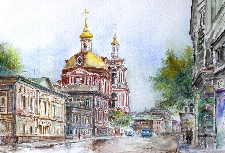 Москва, Старая Басманная улица - бумага/акварель, 21х31, 2020