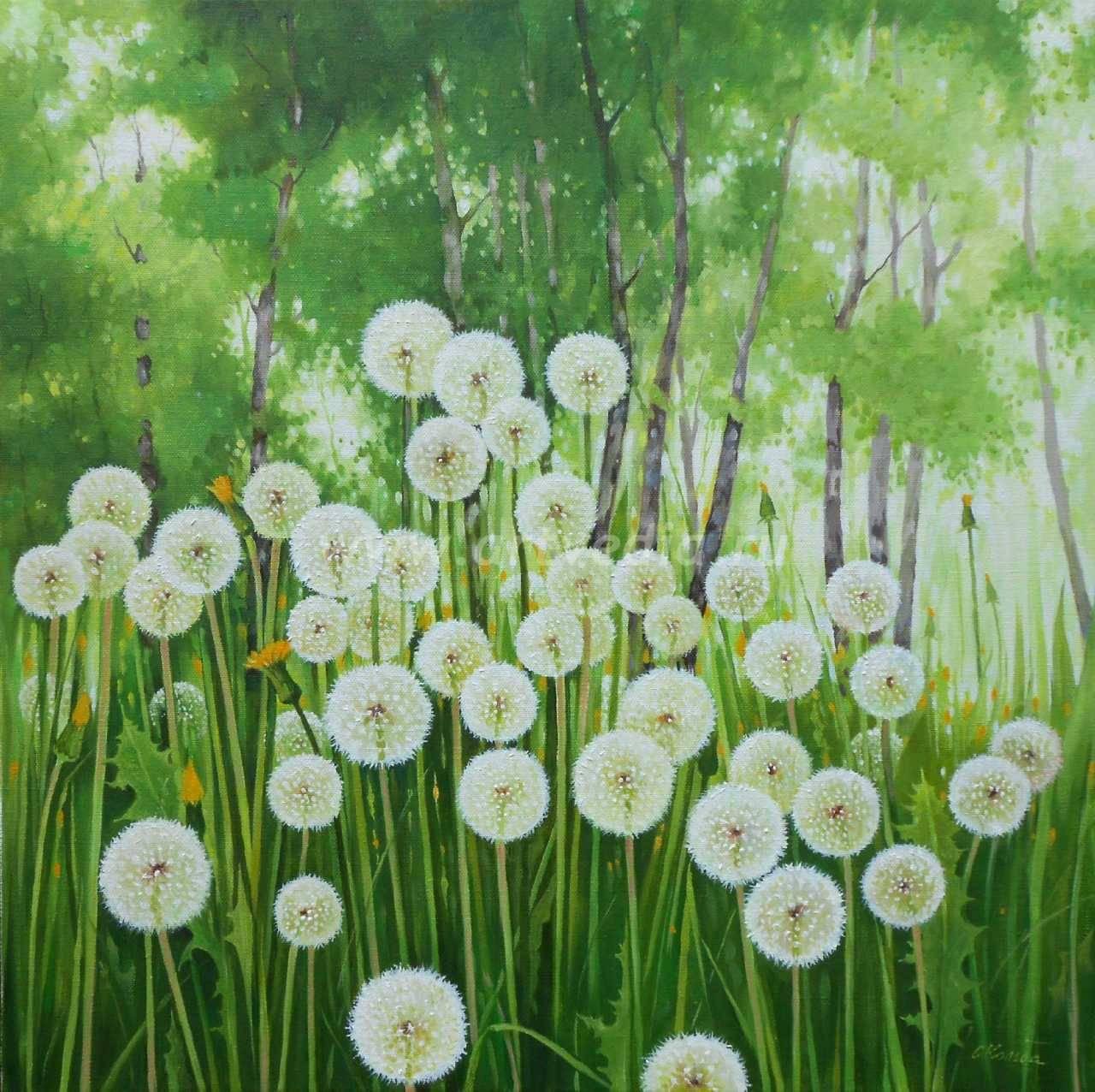 весенний пейзаж с одуванчиками