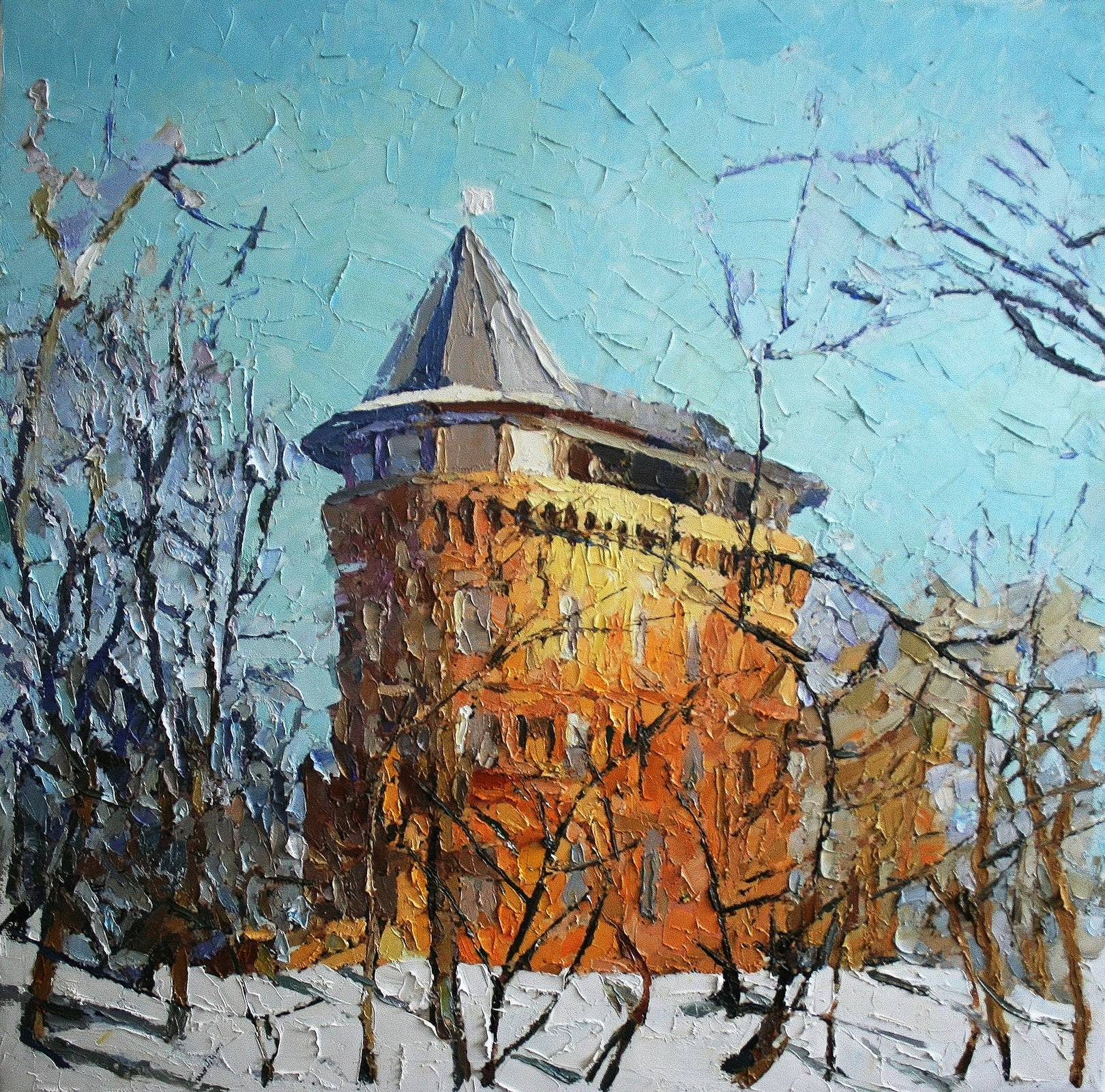 1285.«Башня зимой» холст, масло, 55х55 см, 2020