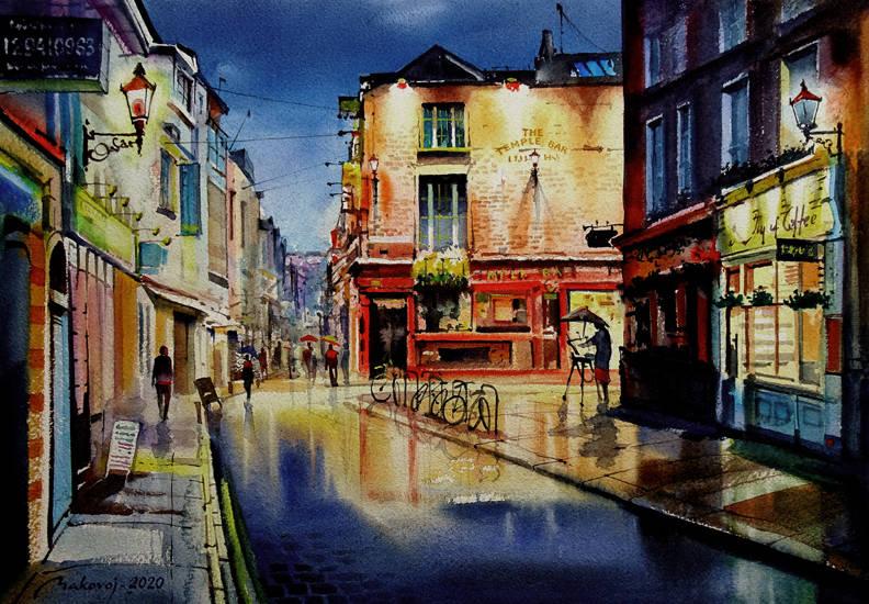 ,THE TEMPLE BAR,,Дублин,Ирландия. ...или ,,этюд с натуры в дождливый день,,