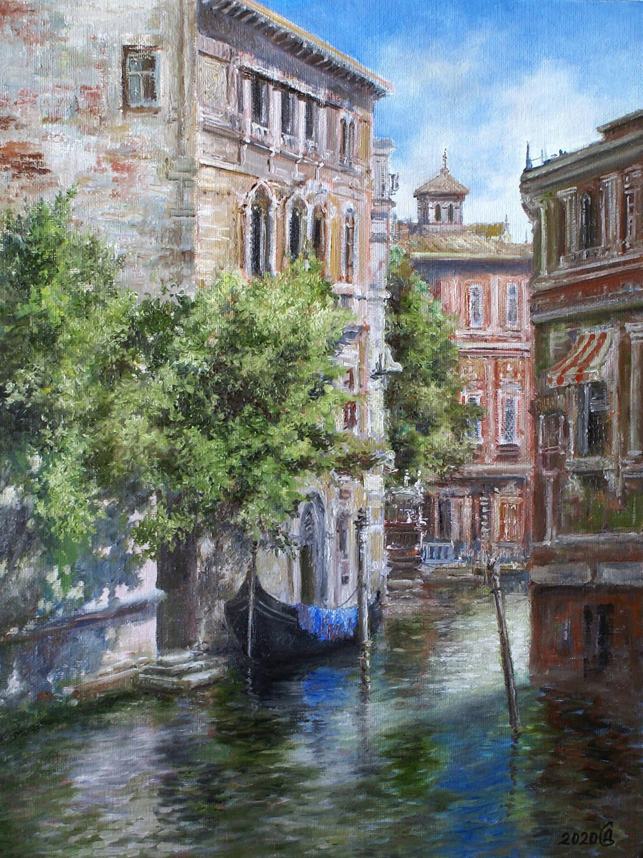 В тени канала. Венеция - холст на картоне/масло, 40х30, 2020