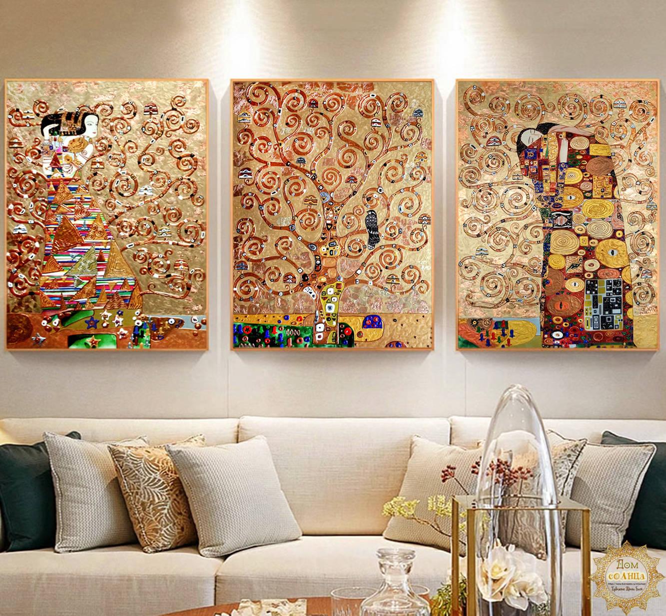 """Модульная интерьерная бронзовая картина с медной или золотой поталью """"Древо жизни"""". Густав Климт. Триптих."""