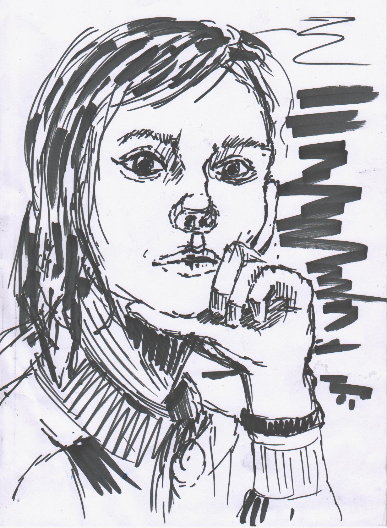 Маша  Рядом просто лежал маркер и мне захотелось его опробовать. Рисовать подобными материалами здорово - ты не имеешь права на ошибку и это дисциплинирует.