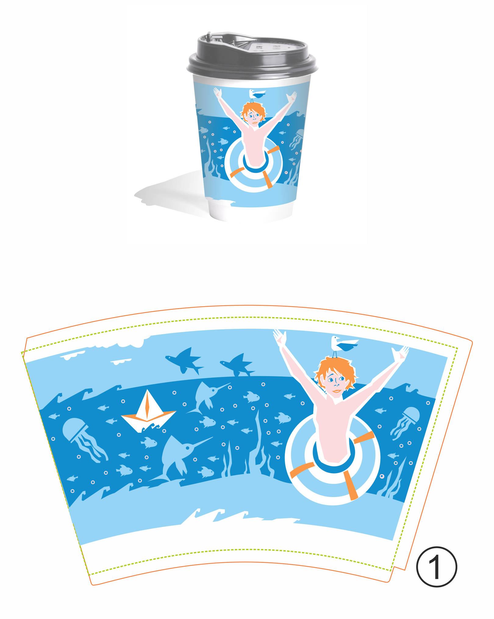 Дизайн-иллюстрация оформления стаканчиков. Море.